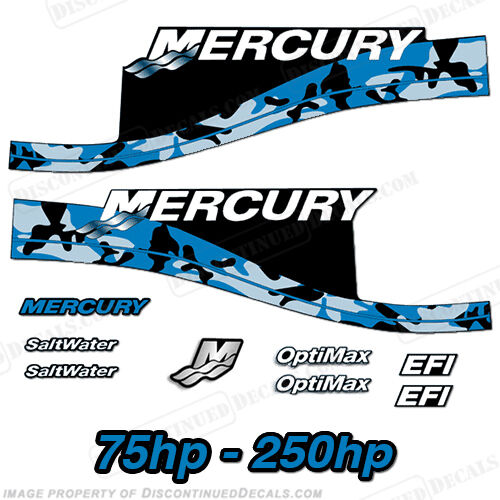 Mercury custom blue camouflage decals 75 for Custom outboard motor decals