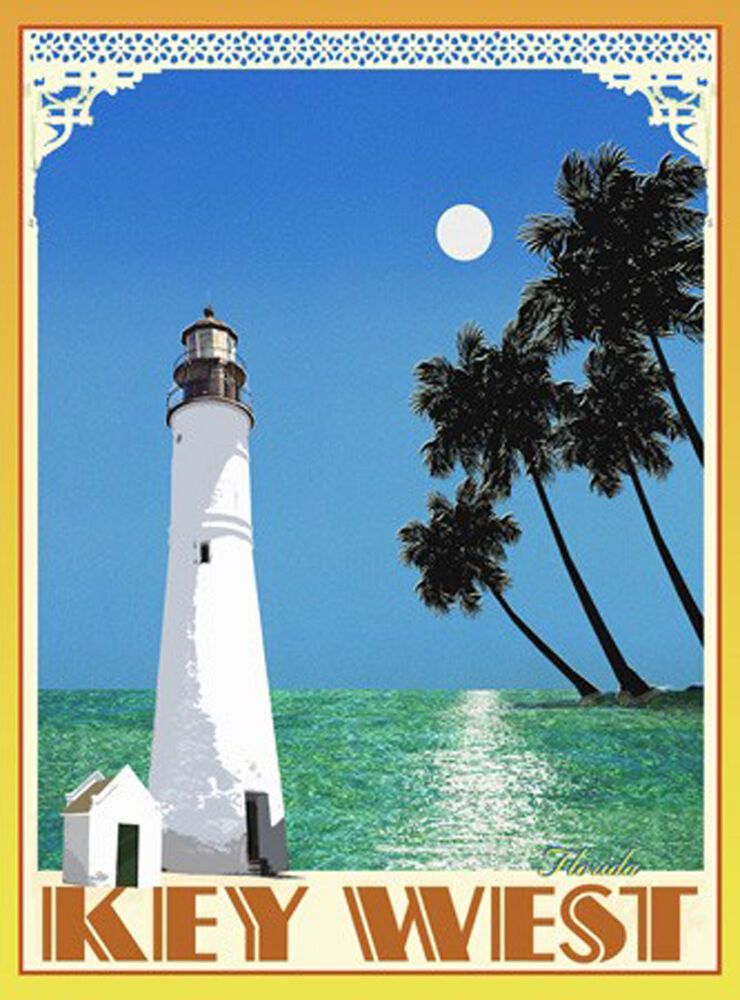Key west lighthouse vintage art deco style travel poster for Key west style lighting