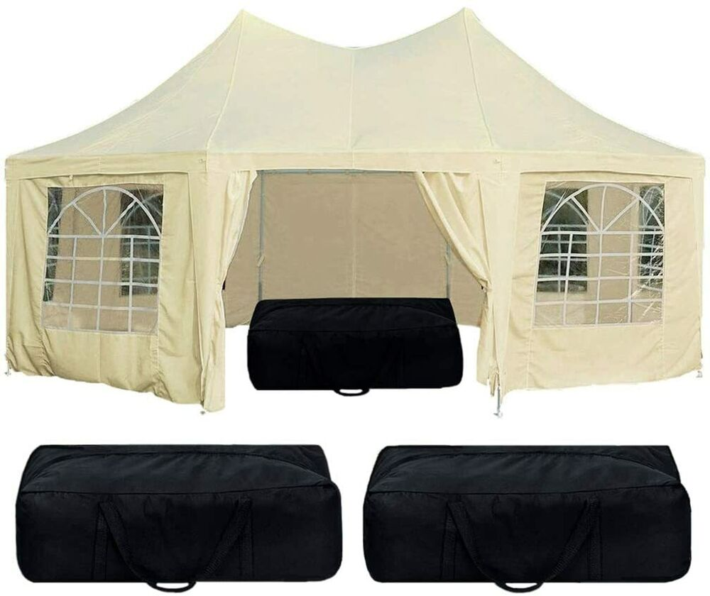 quictent 9 x 6 5m party tent marquee gazebo wedding tent cream ebay. Black Bedroom Furniture Sets. Home Design Ideas