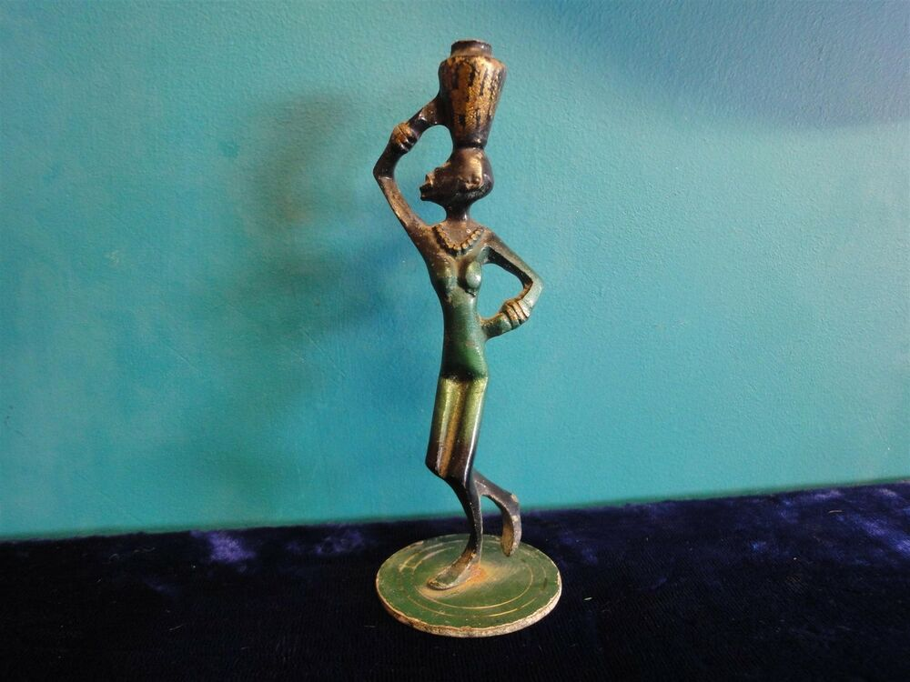 israel vtg bronze & enamel black woman figurine made in