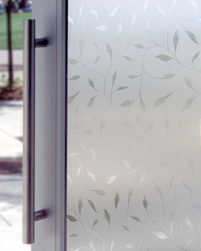 New White Etched Leaf Decorative Glass Window Film Vinyl