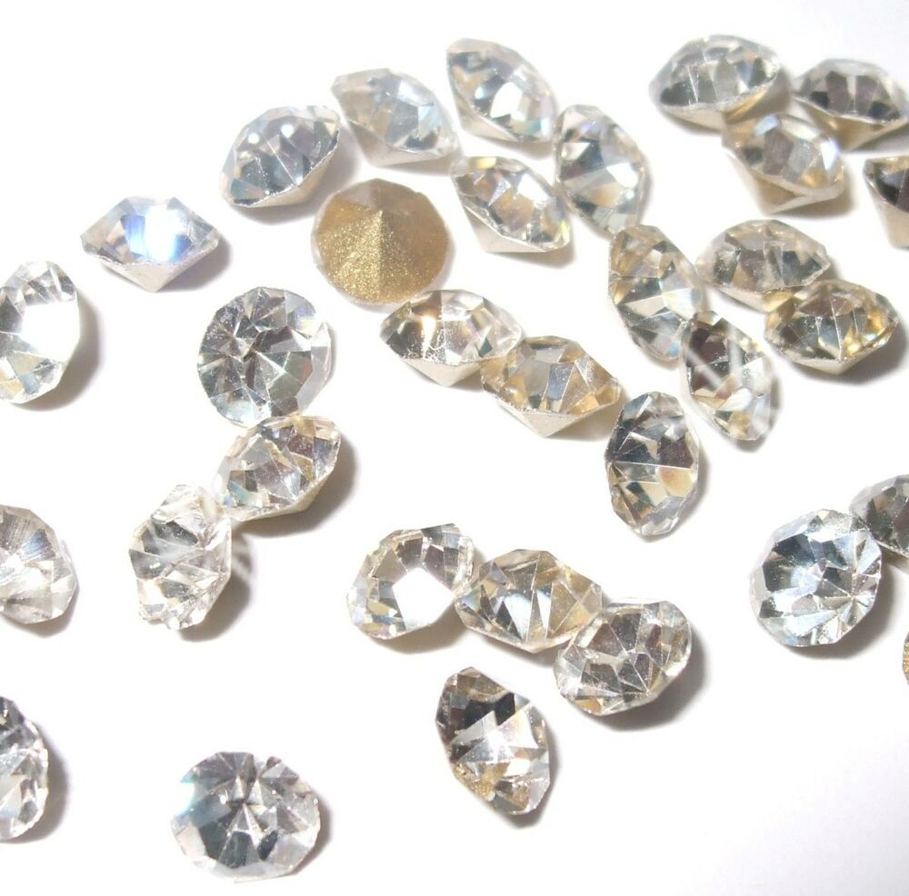 Crystal Bead Beads: 5.5MM CLEAR QUALITY CHATON DIAMANTE GLASS FAUX