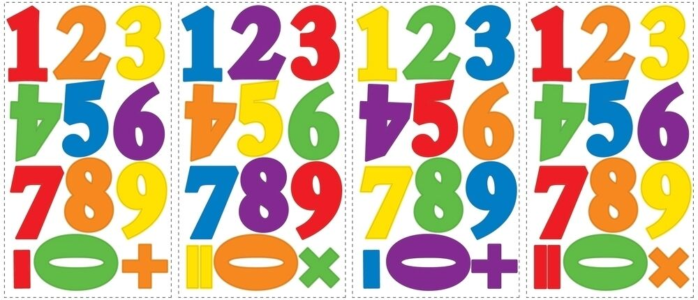 48 New Red Blue Green NUMBERS WALL DECALS Counting