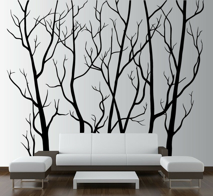 Large wall art decor vinyl tree forest decal sticker for Birch trees wall mural
