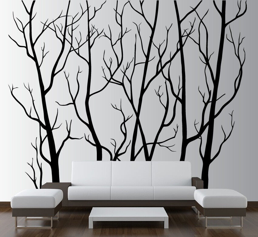 Large wall art decor vinyl tree forest decal sticker for Birch tree wall mural