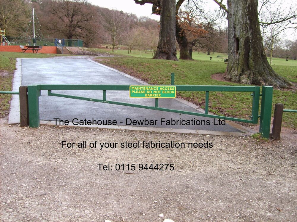 Galvanised steel security barrier road gate car park