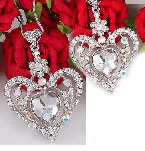 Valentine S Day Love White Clear Heart Necklace Crystal