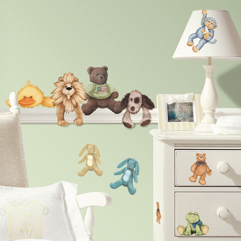23 New BABY ANIMALS WALL STICKERS Stuffed Animal Decals ...