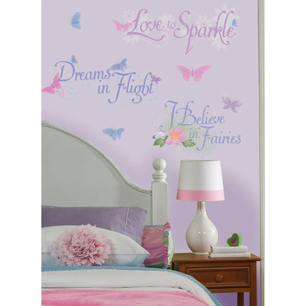 new disney fairy phrases wall decals fairies quotes. Black Bedroom Furniture Sets. Home Design Ideas