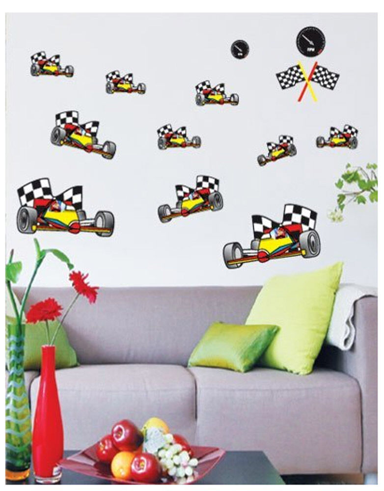 Car racing karting wall art deco kids decal home mural for Cars wall mural sticker