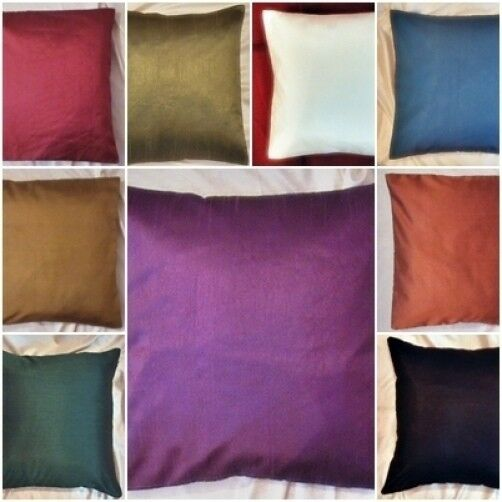 Plain Poly Silk Cushion Covers Pillow Case Sofa Throw