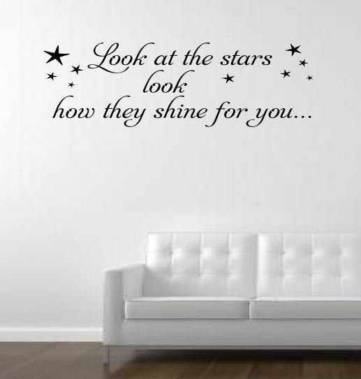 Wall Art Stickers Song Lyrics : Look at the stars cold play music lyrics wall art decal