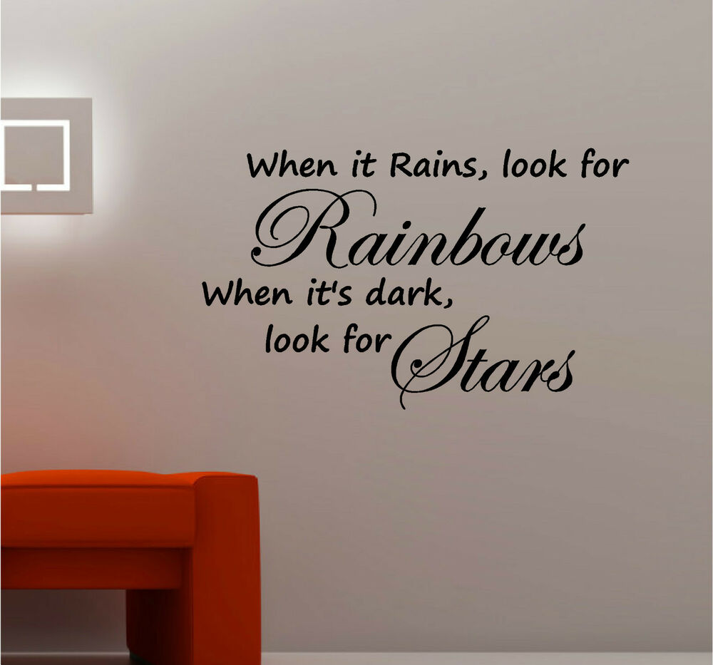 When it rains look for rainbows wall art vinyl kitchen for Bedroom vinyl quotes