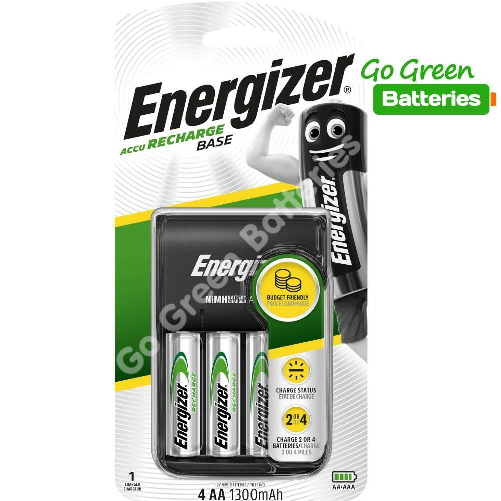 energizer base aa aaa charger 4 x aa 1300 mah. Black Bedroom Furniture Sets. Home Design Ideas