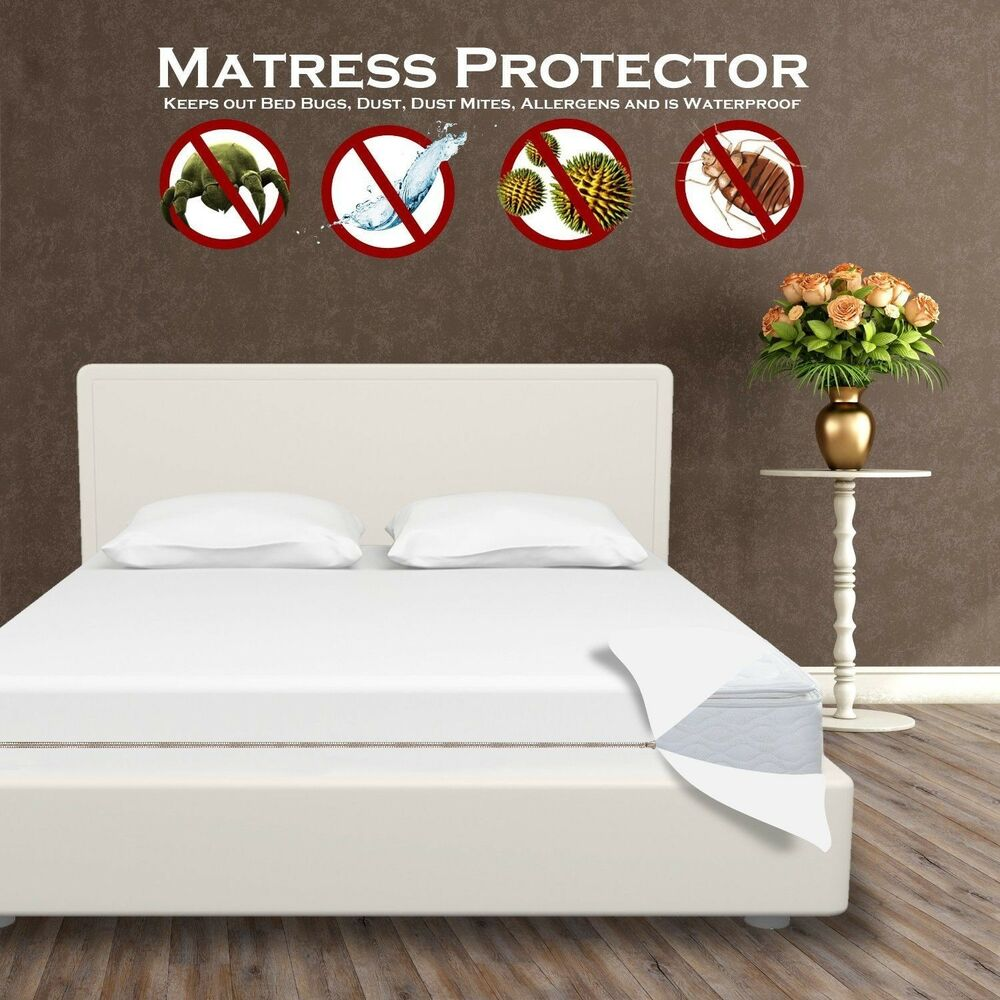Waterproof Mattress Protector Encasement Zippered Anti