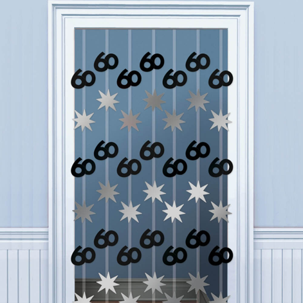2m happy 60th birthday black door doorway danglers party for 60th birthday decoration