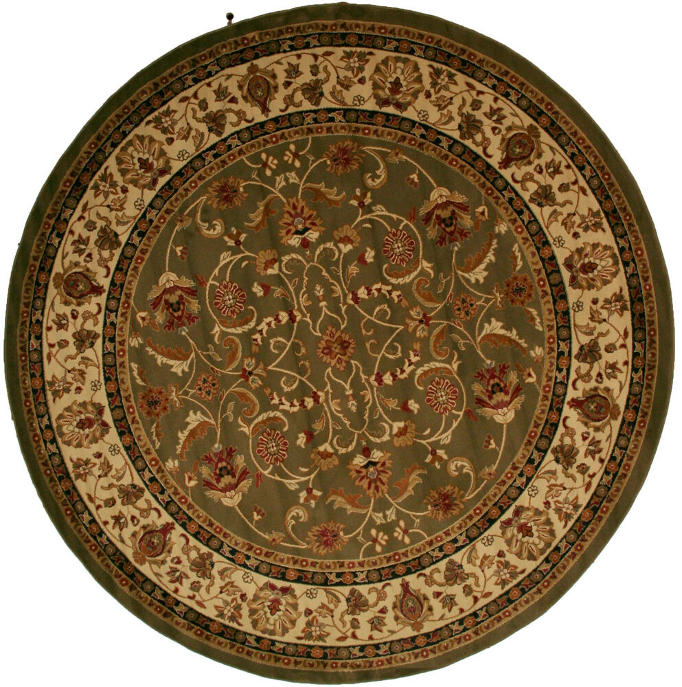 8 Foot Round Area Rug Rugs New Large Huge Traditional Border Sage Green Pattern : eBay