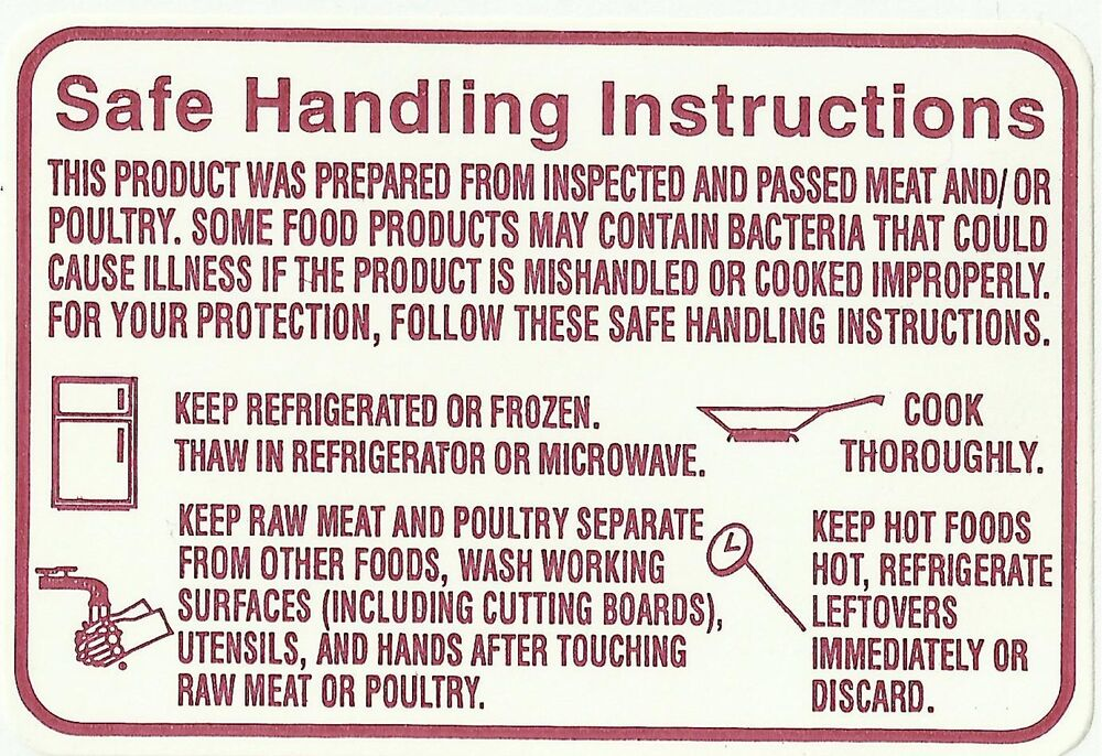 Safe Handling Instructions Label 2 Roll X1000roll Total Of 2000