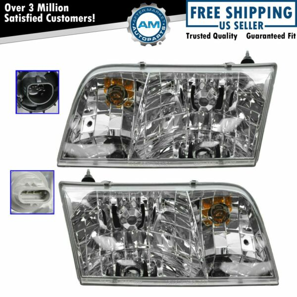 Headlights Headlamps Left & Right Pair Set NEW for 98-11 Ford Crown Victoria