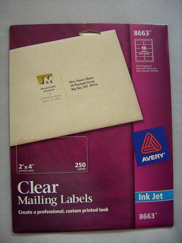 It's just a photo of Vibrant Avery Clear Shipping Labels