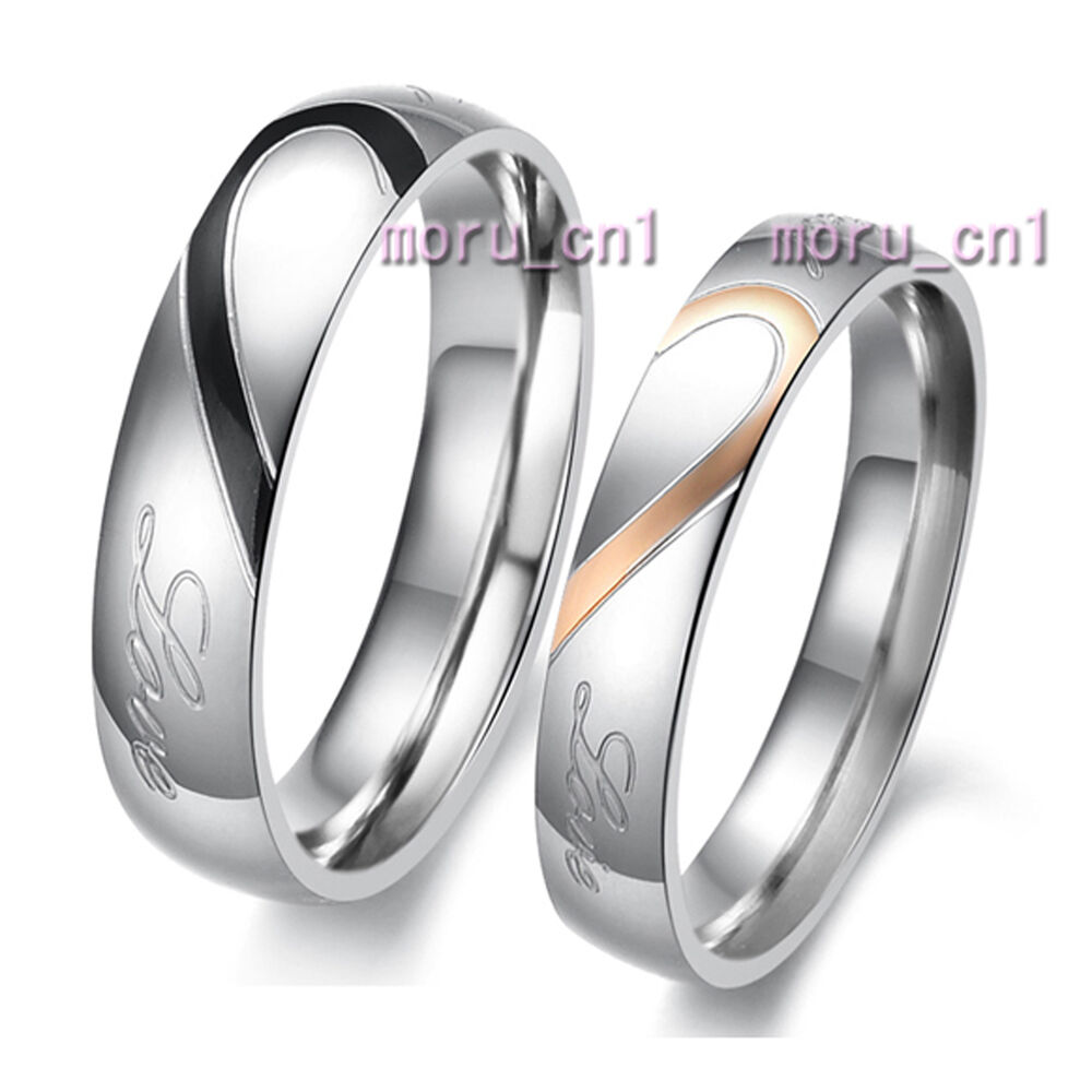 Classic Heart Shape Matching Wedding Bands Titanium Couple Ring Set Valentine | EBay