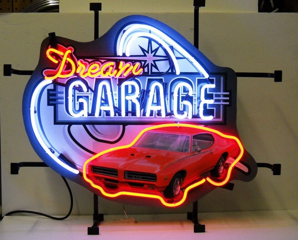 Auto Garage Signs : Real neon sign chevrolet chevy pontiac gto dream garage ss