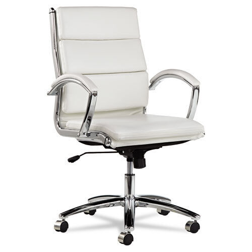 white leather chair white leather computer office desk chair with padded arms 21975 | s l1000