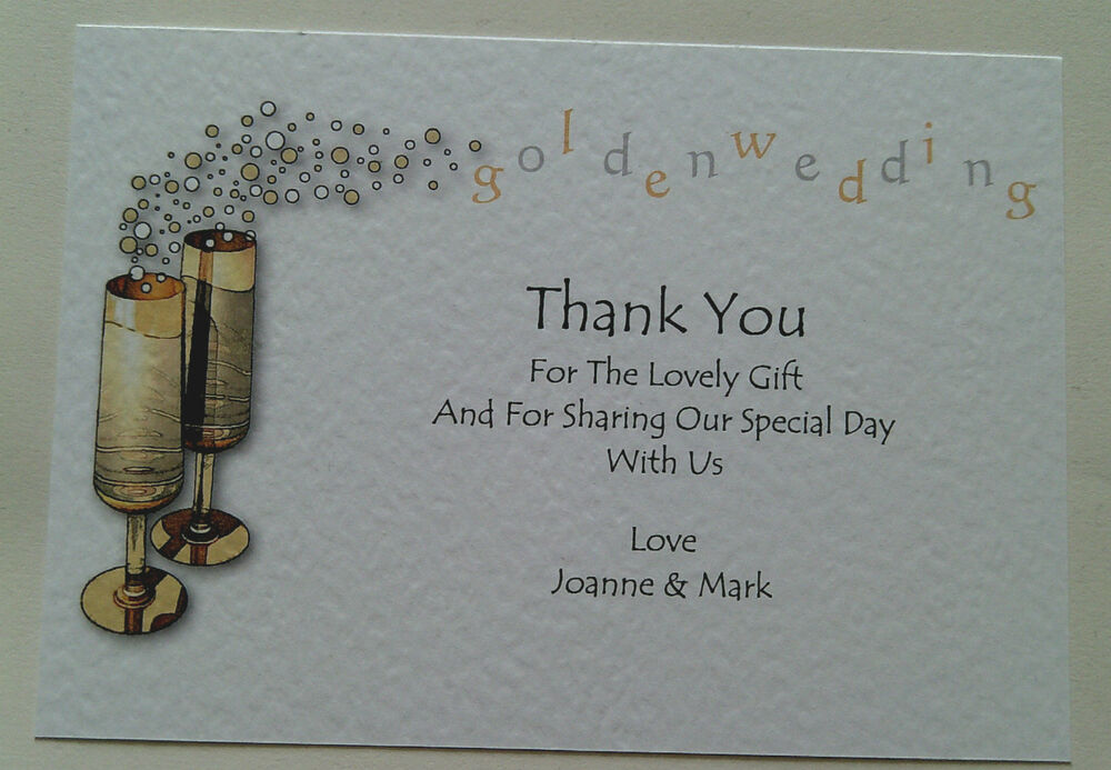 Golden wedding anniversary thank you cards personalised