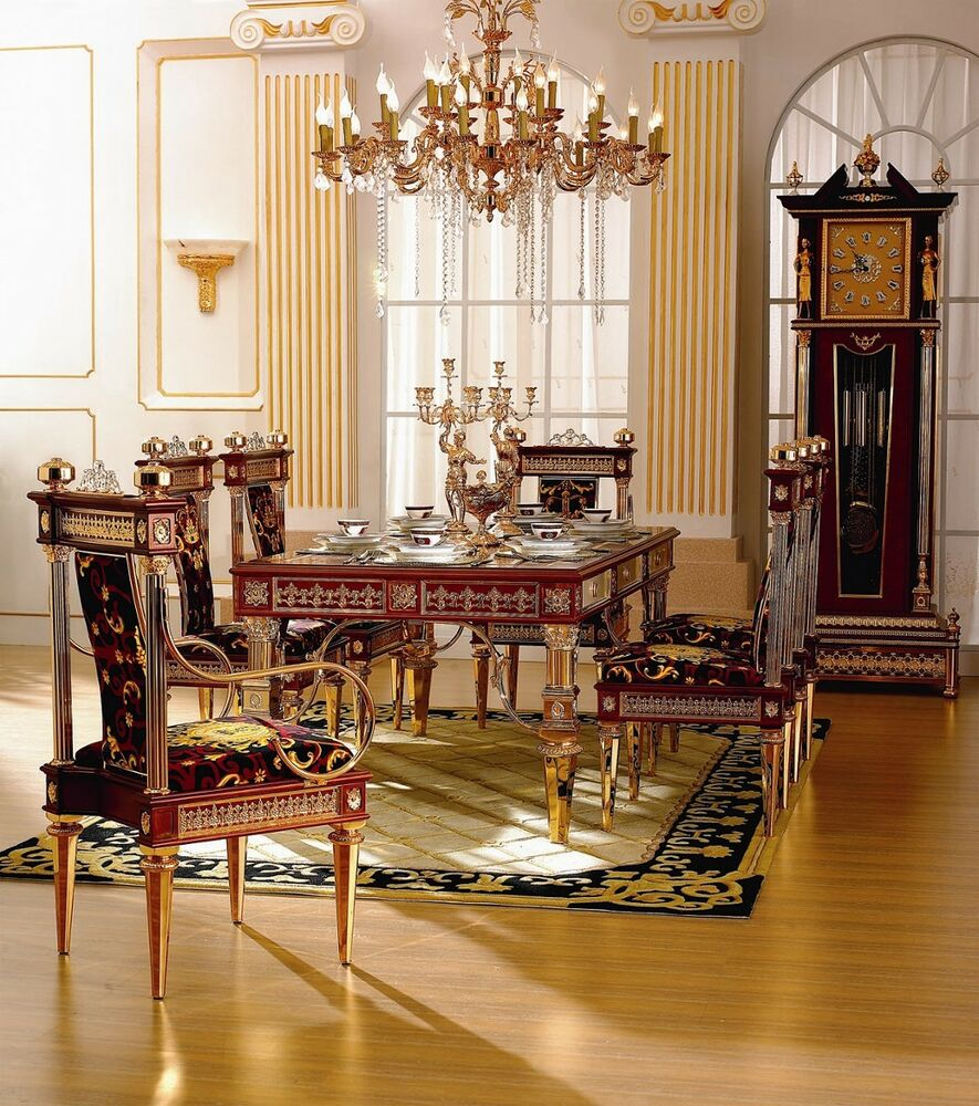 Dining set venetian dining room table chairs 24kt gold for Italian dining room sets