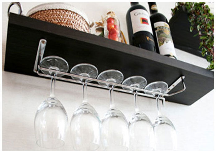 wine glass wall rack holders hanger chrome plated 12 s 15 3 4 l ebay. Black Bedroom Furniture Sets. Home Design Ideas