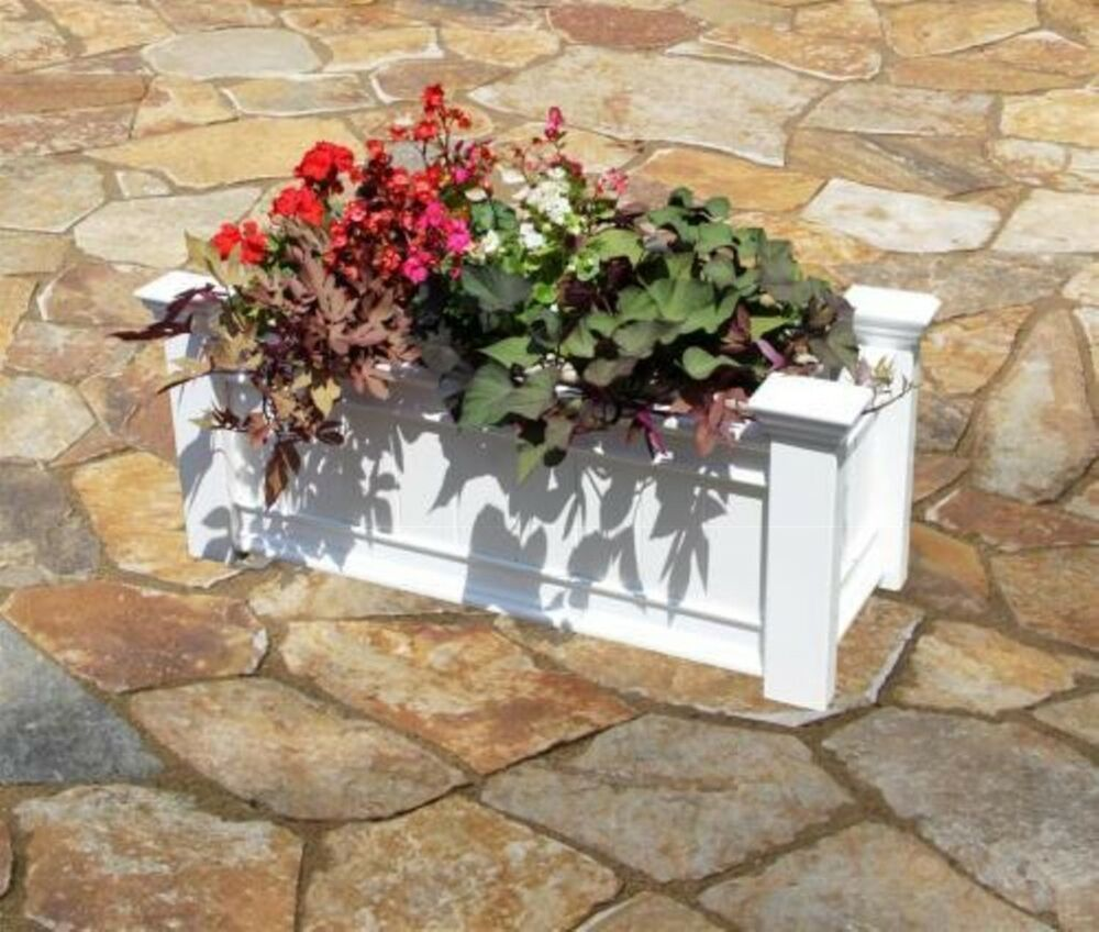 Rectangle Raised Flower Box Planter Bed 2 Tier Soil Pots: Decorative Vinyl Garden Patio WINDSOR Long Planter Flower