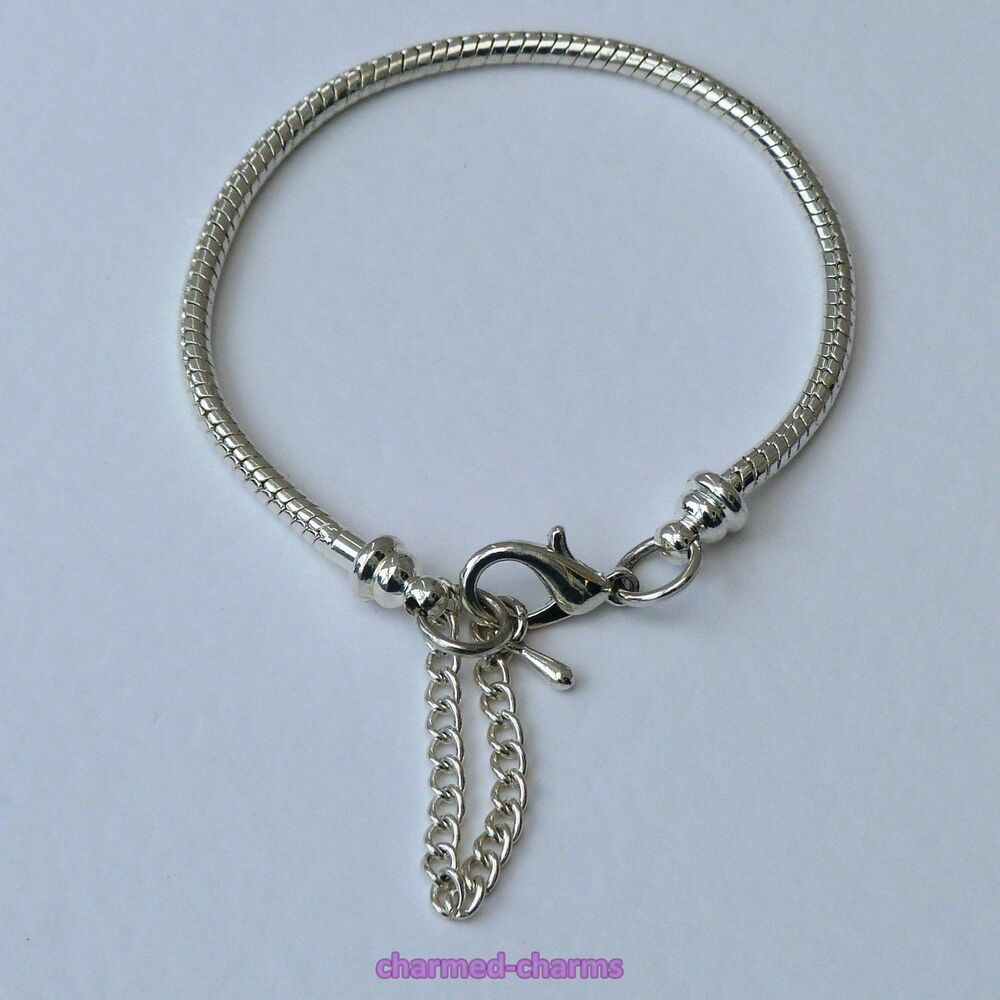 silver plated lobster clasp 3mm snake chain charm bead
