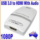 USB 3.0 TO HDMI DVI Multi Display Graphics Adapter To Add Monitor 1080P Windows7