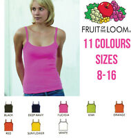 FRUIT OF THE LOOM LADY-FIT STRAP T-SHIRT VEST STRAPPY TOP CAMISOLE - SIZES 8-16
