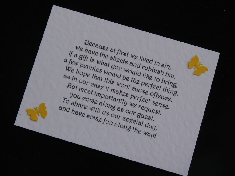 Wedding Gift Poems : Personalised Handmade Wedding Gift Money Poems for Invitations Insert ...
