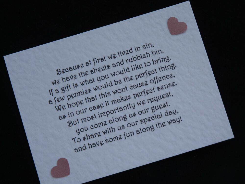Handmade Wedding Gift Money Poems for Wedding Invitations Insert Heart ...