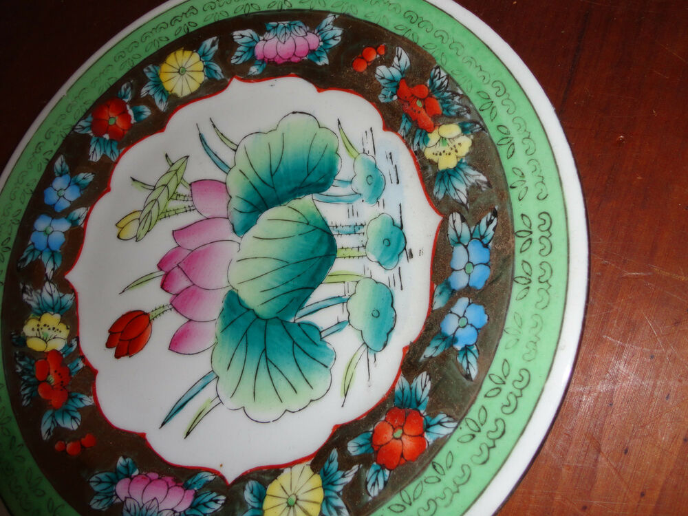 Decorative Wall Plates For Hanging: WALL HANGING DECORATIVE PORCELAIN GREEN WITH GOLD PLATE 8