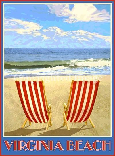 Virginia Beach Chairs Vintage Art Deco Style Travel Poster