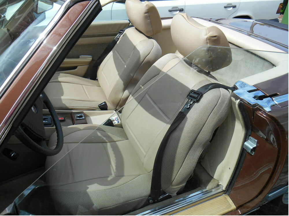 Tan Leatherette Front Seat Covers Fits Mercedes Sl And Slc 1971 1989 R107 C107 Ebay