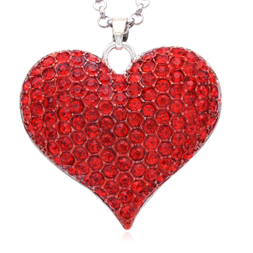 Mini Red Love Chandelier: Necklace Valentine's Day Ruby Red Love Heart Pendant BFF