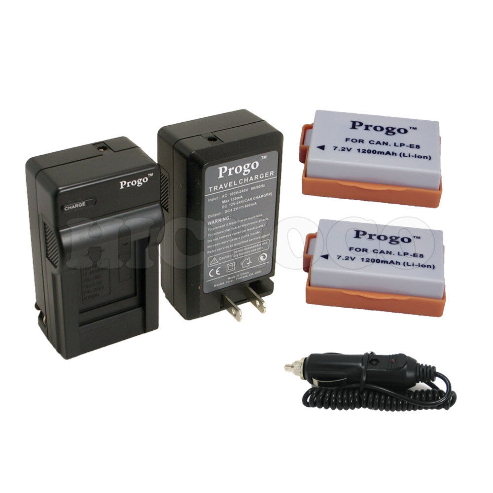 2 Battery Charger Amp Car Adapter Combo Kit For Canon Lp
