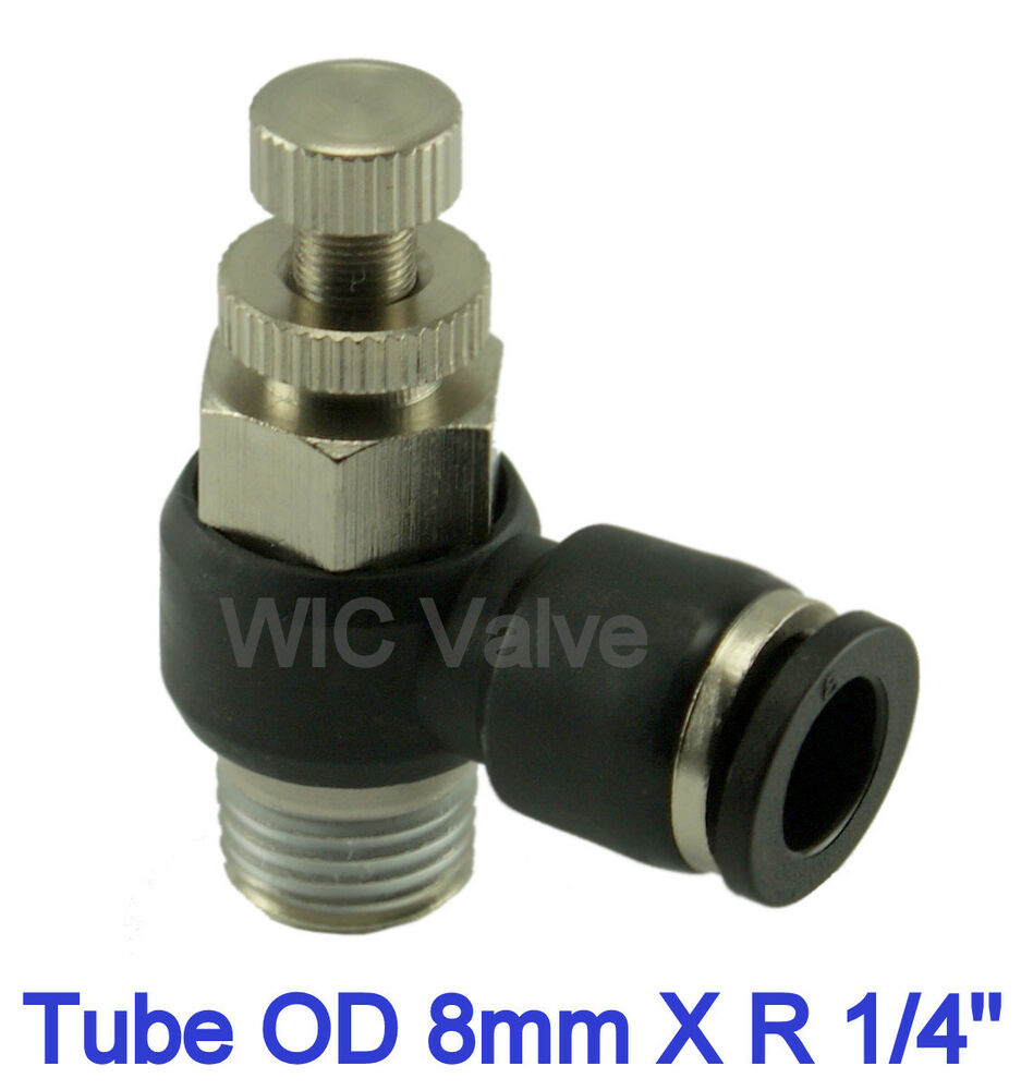 Pc flow control valve tube od mm r quot metric push in