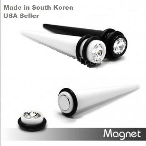 magnetic black white fake cheater ear tapers earrings with
