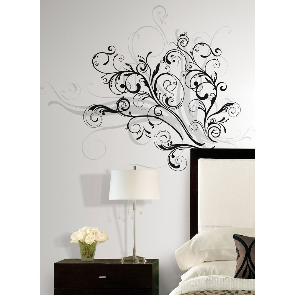 New Modern Black & Silver SWIRLS WALL DECALS Contemporary
