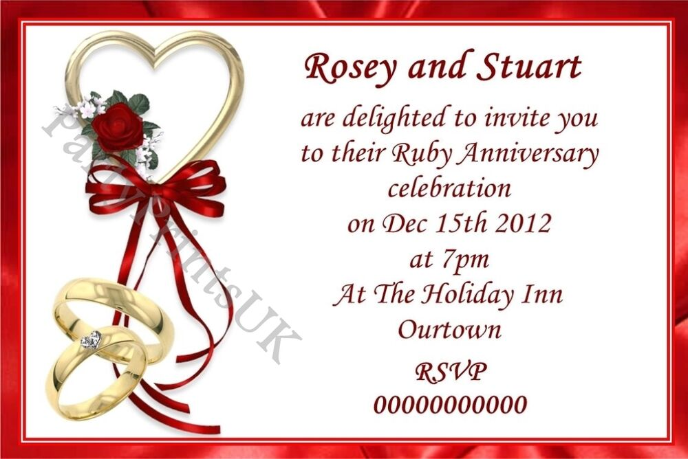 ruby wedding invitations templates free - 28 images - 25 best images ...