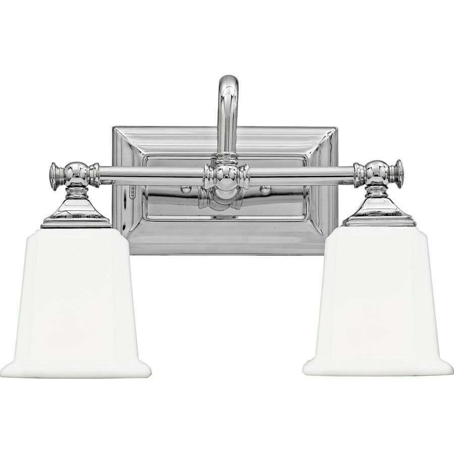 Quoizel 2 light nicholas bath fixture in polished chrome for Bathroom 2 light fixtures