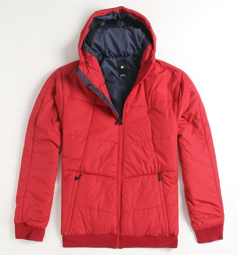 Dc Shoes Substitute Mens Red Hooded Quilted Puffer Jacket