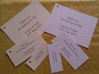 50 PERSONALISED WEDDING FAVOUR CARDS / TAGS (SMALL, MEDIUM OR LARGE)