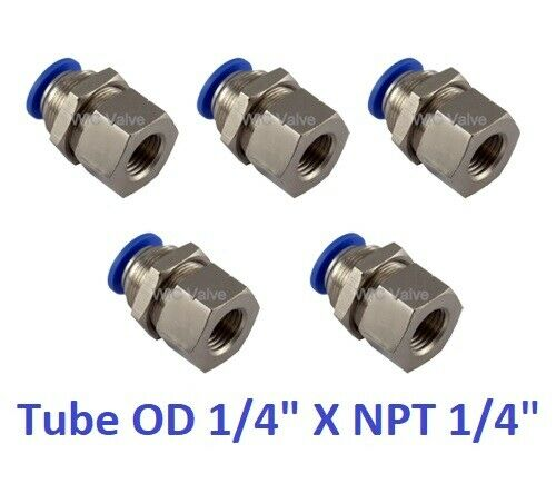 Pc bulkhead connector tube od quot npt push in