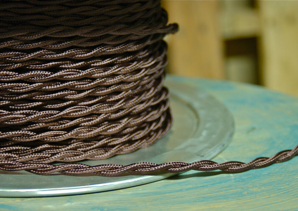 brown twisted rayon covered wire vintage style cloth lamp cord. Black Bedroom Furniture Sets. Home Design Ideas